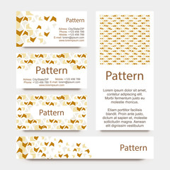 Business cards pattern with broken wall or puzzle ornament. INCLUDES SEAMLESS PATTERN