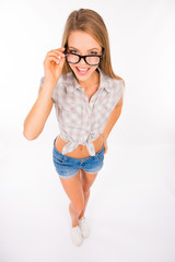 happy young sexy woman with glasses