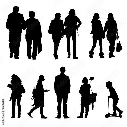 People Silhouette Walking And Couple