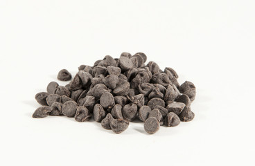 Chocolate chips against a white background