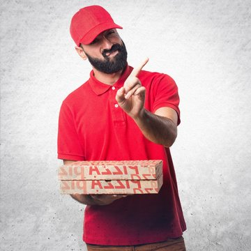 Pizza delivery man doing NO gesture