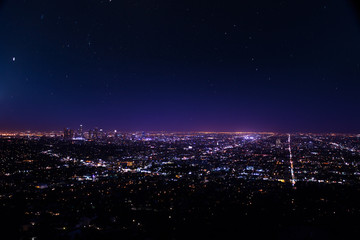 Foto op Plexiglas Los Angeles Beautiful cityscape view of Los Angeles at night