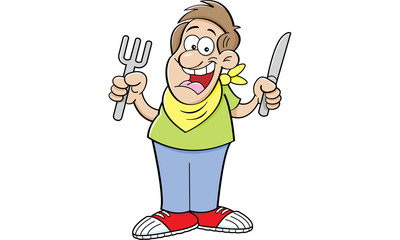 Cartoon illustration of a hungry man holding a knife and fork.