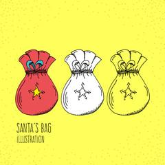 Cartoon Style Santa´s Bag Hand Drawn Illustration Icon