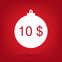 christmas sale sticker tag, price 10 dollars