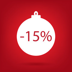 christmas sale sticker tag, 15 percent discount