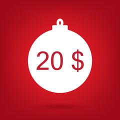 christmas sale sticker tag, price 20 dollars