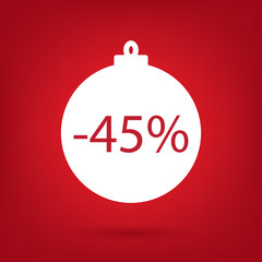 christmas sale sticker tag, 45 percent discount