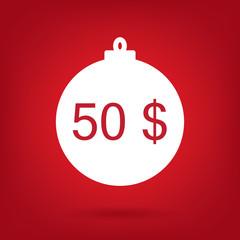 christmas sale sticker tag, price 50 dollars