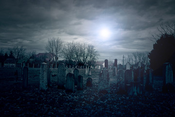 Photo sur Aluminium Cimetiere Cemetery night