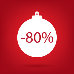christmas sale sticker tag, 80 percent discount