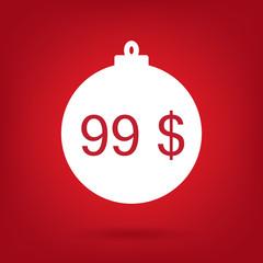 christmas sale sticker tag, price 99 dollars