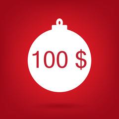 christmas sale sticker tag, price 100 dollars