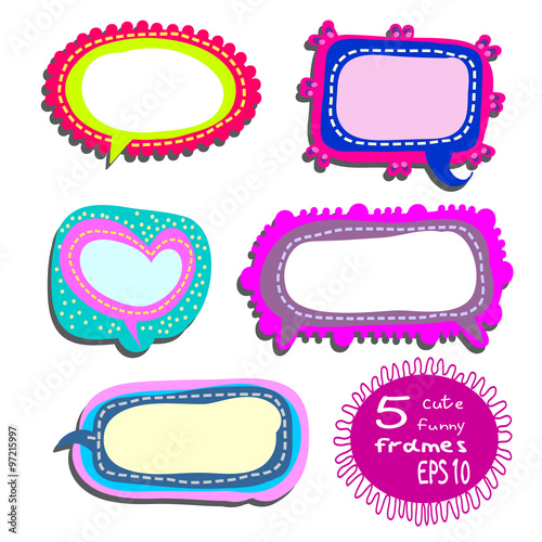 Childish frames set - 5 cute, funny frames or stickers for cheerful ...