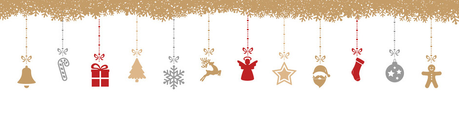christmas decoration elements hanging snowflakes isolated backgr