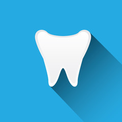 Tooth icon with long shadow.