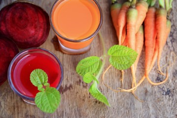 mix beetroot and carrot juices