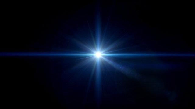 twinkle blue star lens flare center