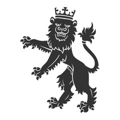Black Standing Lion With Crown
