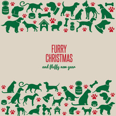 Furry Christmas and fluffy new year border greeting card design. EPS 10 vector.