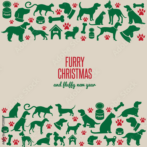 furry christmas and fluffy new year border greeting card design eps 10 vector