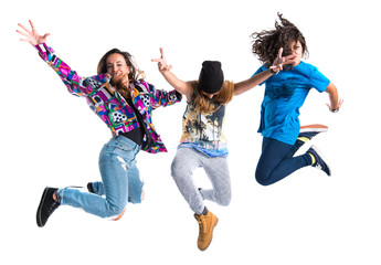 Group of street dance woman jumping