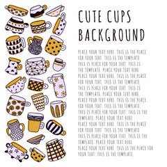 Cute naive cups background. Kids style drawing. Light purple, yellow and dark purple. Template design with place for text.