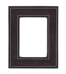 Black leather frame isolated on white background