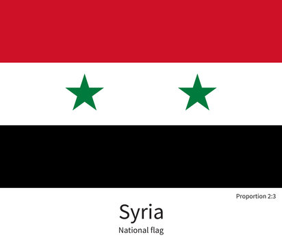 National flag of Syria with correct proportions, element, colors