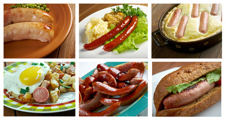 Food set of different  meat sausages  . collage