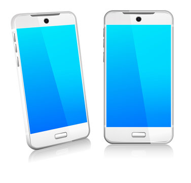 White Phone Cell Smart Mobile 3D and 2D