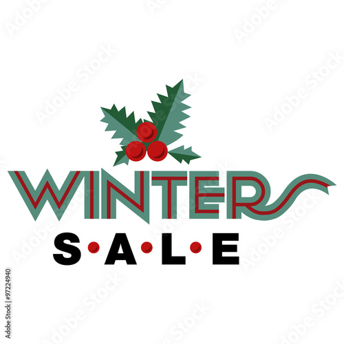 sale and discount card banner flier winter sale title mistletoe