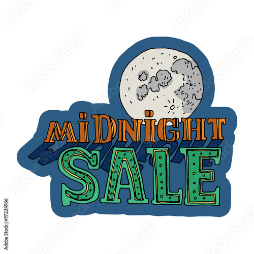 sale and discount card banner flier midnight sale title moon