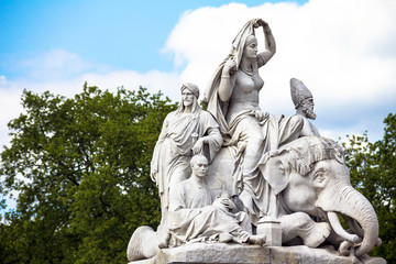 "Allegorical sculpture ""Asia"" (by John Henry Foley) representing continent of Asia in Prince Albert Memorial near Kensington Gardens in London."