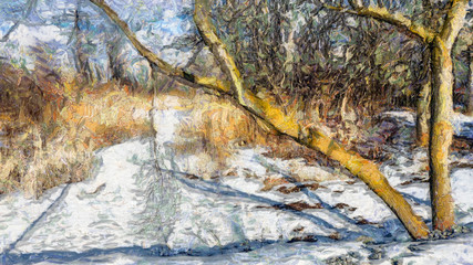 Winter Path Along the River, Van Gogh Style
