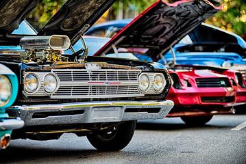 Fototapeta classic car show in historic old york city south carolina obraz