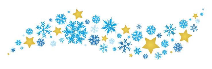 Courbe flocons bleus avec étoiles