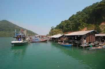 KO CHANG, THAILAND - FEBRUARY 4, 2007:  Boat near the fishing village