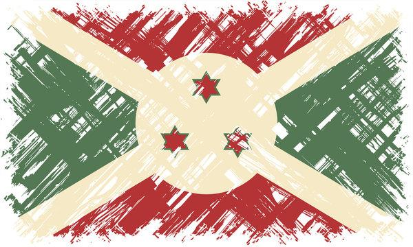 Burundi grunge flag. Vector illustration.