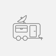 Caravan with satellite dish line icon.