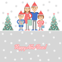 Family with Christmas shopping. Vector illustration of mom dad children ahd gifts in hand.
