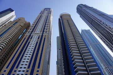 The modern high rise skyline of Dubai in the United Arab Emirates