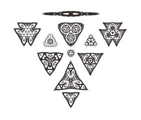 Triangular ornament set. Tribal art isolated on white background. Geometric ornament set.