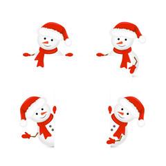 Snowmen in Santa hats holding blank paper