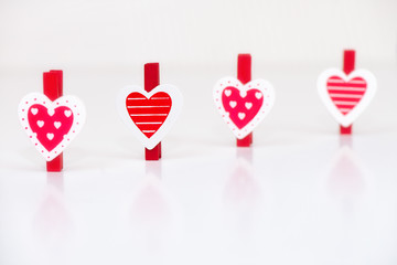 Heart shaped clothes pegs