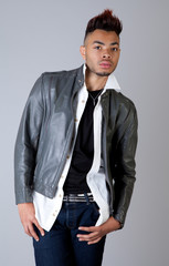 Attractive Man in Leather Jacket