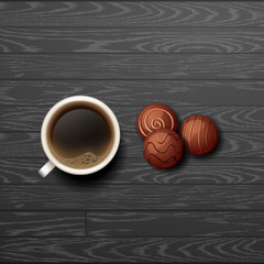 Hot Coffee cup with candy vector background