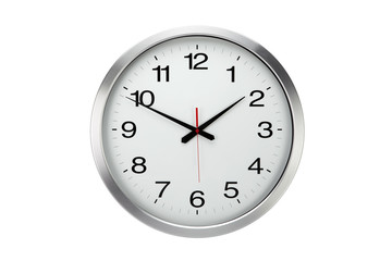 Large round office wall clock  isolated
