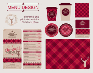 Branding and print elements for Christmas menu. Template for branding identity restaurant or cafe. Set of menu, business cards, labels. Bright design concept in red.