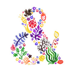 Watercolor nature vector ampersand with flowers, berries and plants (multicolored). Perfect for invitations and other design.